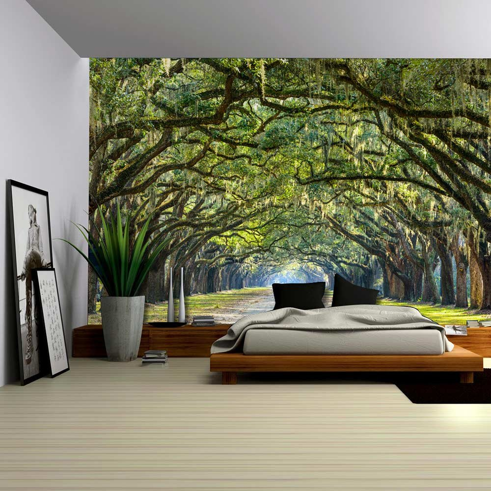wall26 com art prints framed art canvas prints greeting wall26 long pathway in an arch tree covered forest wall mural removable sticker home decor 66x96 inches