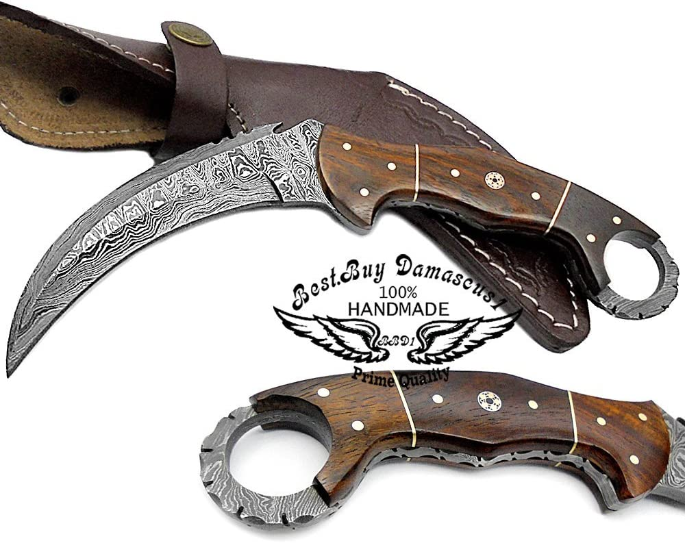 Rose Wood 8.2 Fixed Blade Custom Handmade Damascus Steel Hunting Knife 100 Prime Quality