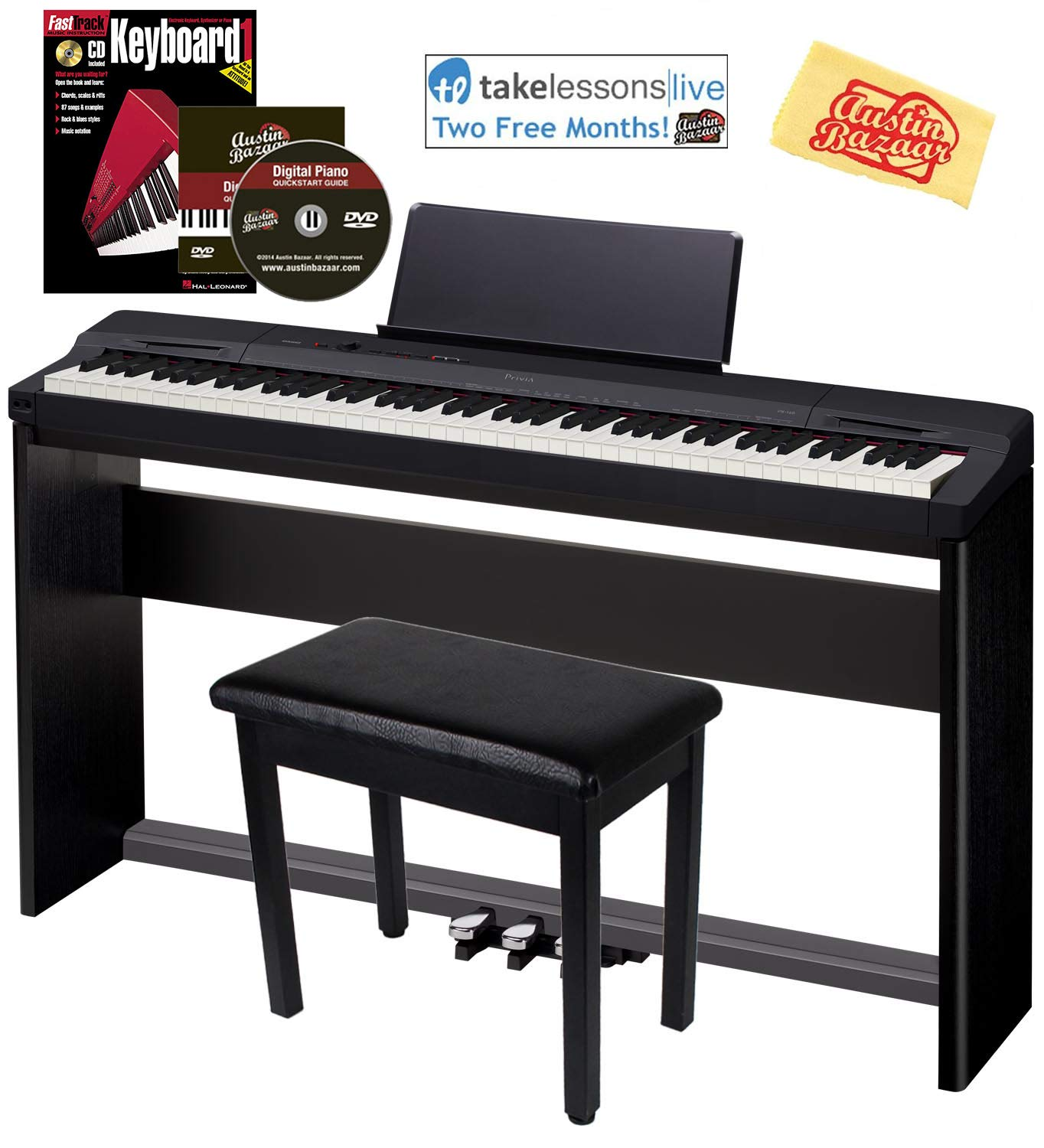 Casio Privia PX-160 Digital Piano - Black Bundle with CS-67 Stand, SP-33 Pedal, Furniture Bench, Instructional Book, Austin Bazaar Instructional DVD, and Polishing Cloth by Casio