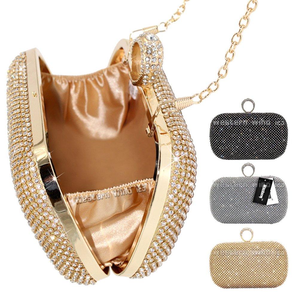 cc8df031bea Shimmering Silver Diamante Encrusted Evening bag Clutch Purse Party Bridal  Prom