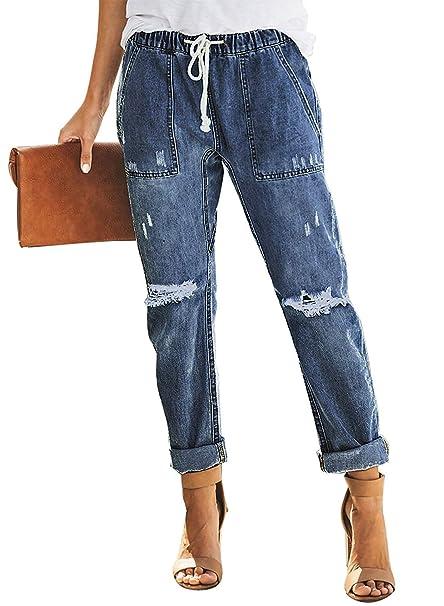 Aleumdr Mujer Vaqueros Casuales Pantalones elásticos Jeans de Mujer Size S-XXL