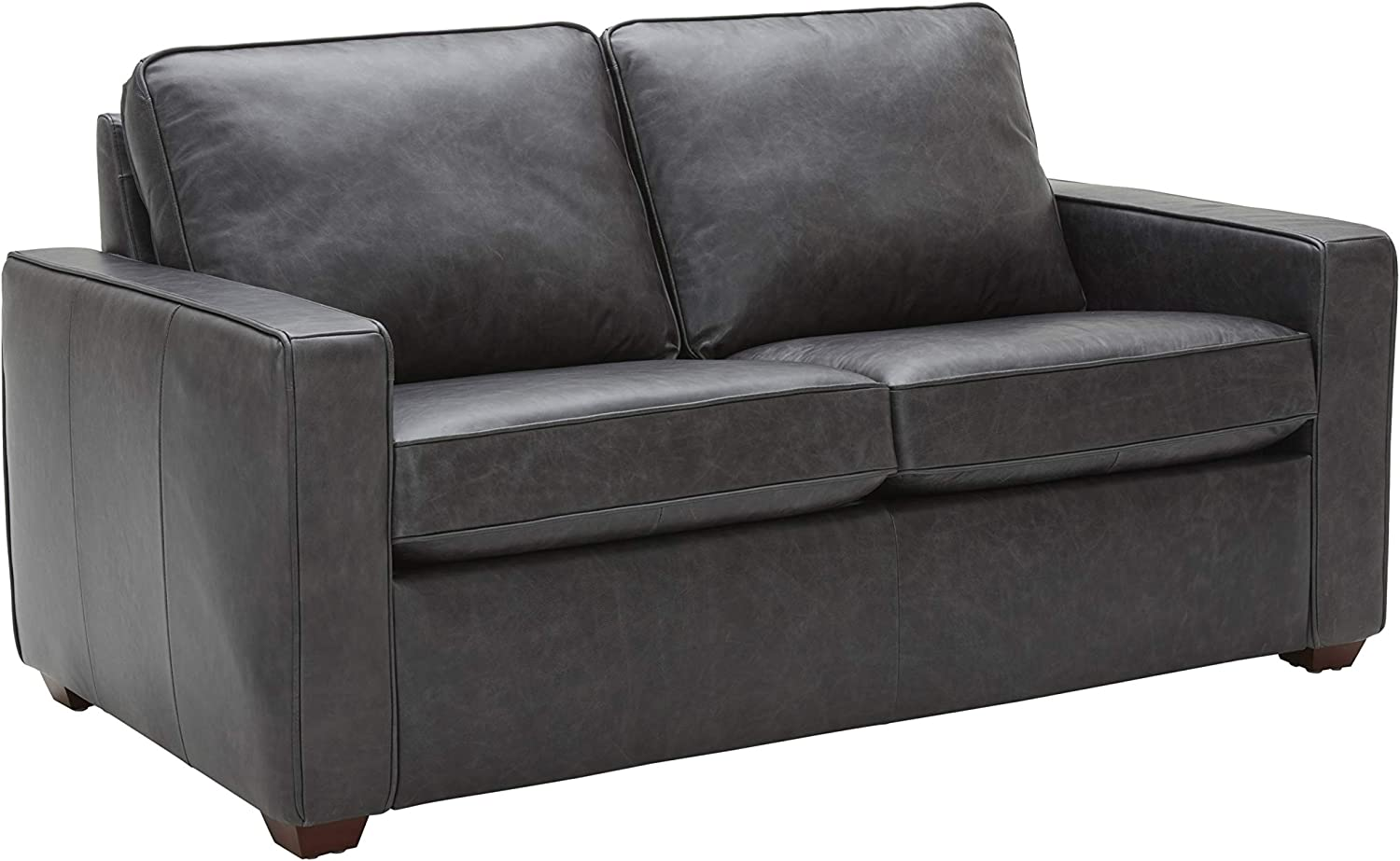 """Amazon Brand – Rivet Andrews Contemporary Top-Grain Leather Loveseat Sofa with Removable Cushions, 67""""W, Black"""