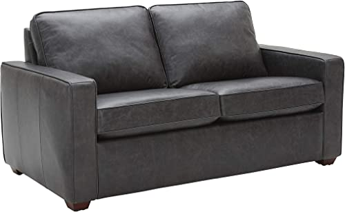Amazon Brand Rivet Andrews Contemporary Top-Grain Leather Loveseat Sofa with Removable Cushions, 67 W, Black