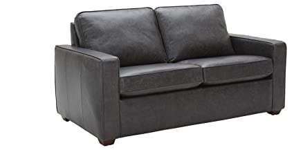 Rivet Andrews Contemporary Top-Grain Leather Loveseat Sofa with Removable Cushions, 67