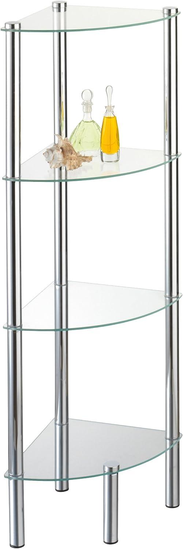 Axxentia Bad 282134 Solanio - Mueble esquinero de 4 estanterías de Metal y Cristal (30 x 30 x 108 cm) [Importado de Alemania]