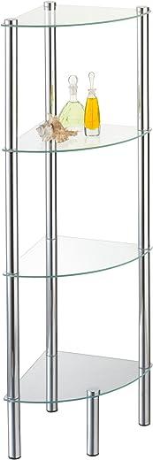 axentia Eckregal Solanio mit vier Böden, Glasregal für Badaccessoires, Badmöbel für die Ecke, Standregal mit Wandbefestigung, ca. 30 x 108 x 30 cm 1