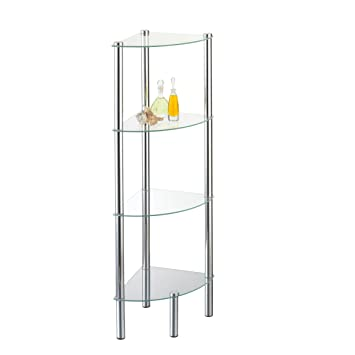 axentia Stand-Eckregal Solanio in Silber, Standregal für Bad & WC ...
