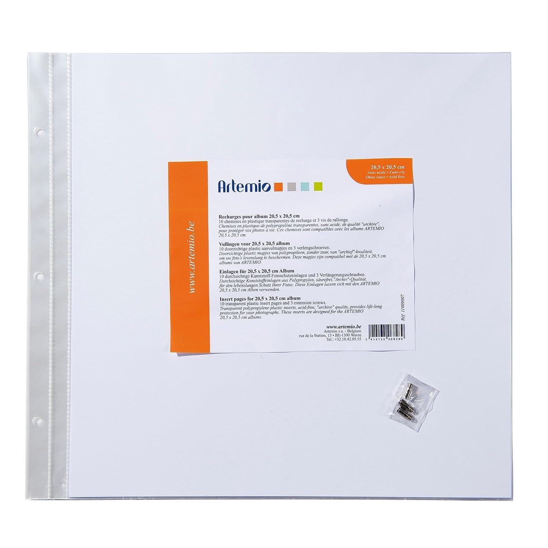 Artemio 20.5 x 20.5 cm 10-Piece Plastic Sleeves for ScrapBooking Album, Transparent 11009007