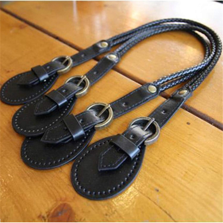 Angelato 2Pcs Fashion Braided Purse Handle Shoulder Bags Belt Replacement Handbag Strap Diy,Black,Onesize