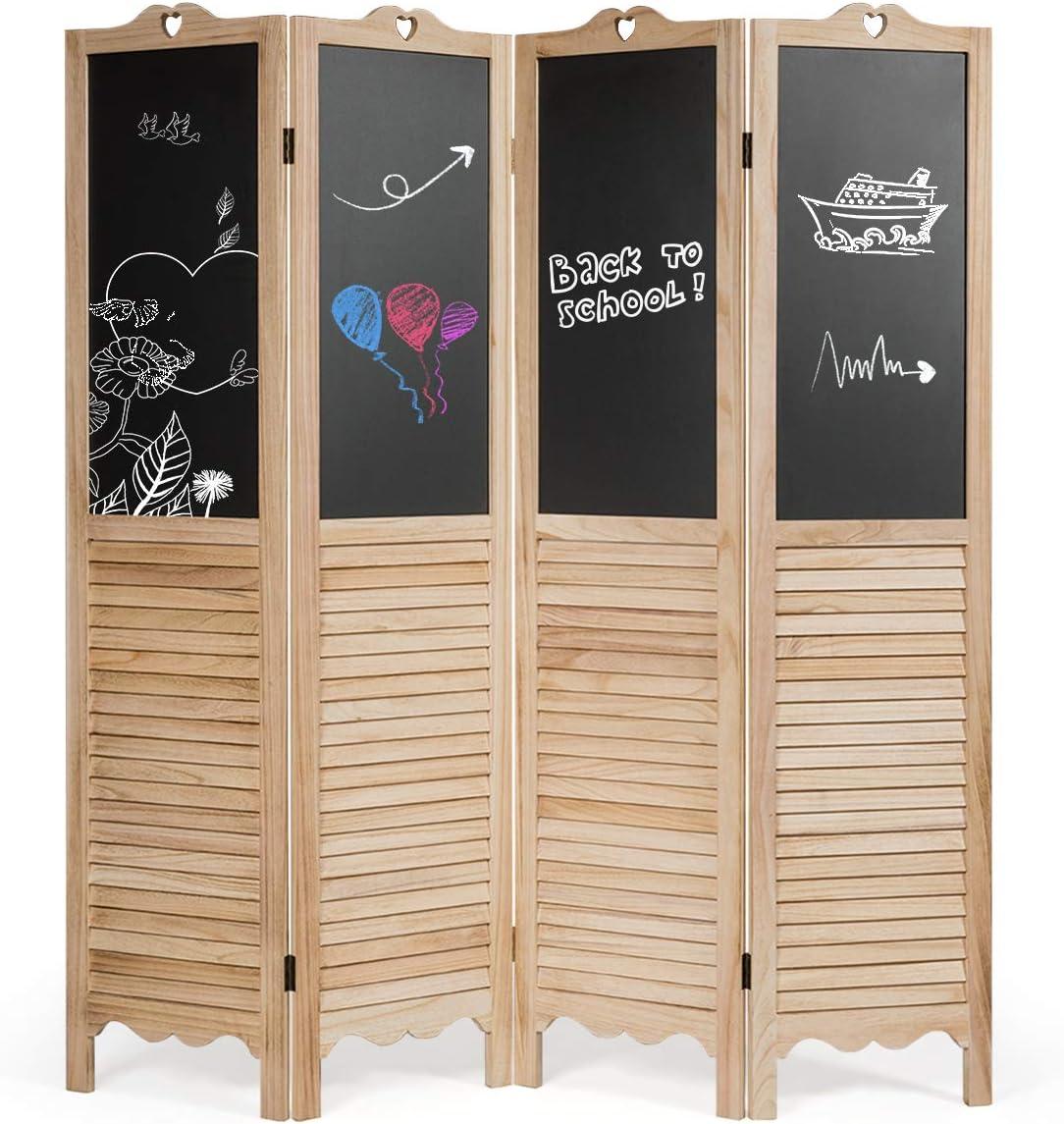 Giantex 5.7 Ft Folding Screen, 4 Panel Screen Room Divider w/Chalkboard Panels, Indoor Room Dividers for Bedroom, Living Room, Office, Restaurant (Natural)