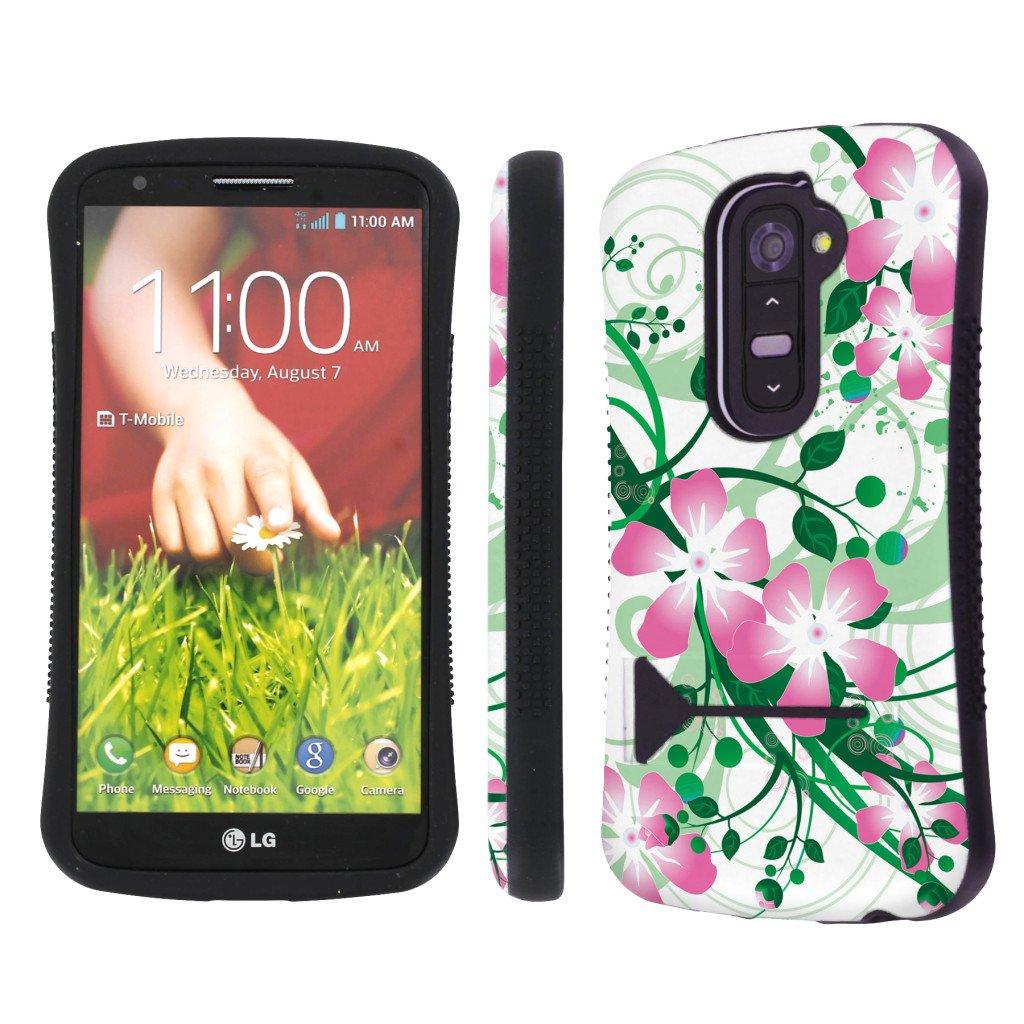 Amazon.com: NakedShield Verizon / AT&T LG G2 D801 VS980 Pink Flower Heavy Duty Shock Proof Armor Art KickStand Phone Case: Cell Phones & Accessories