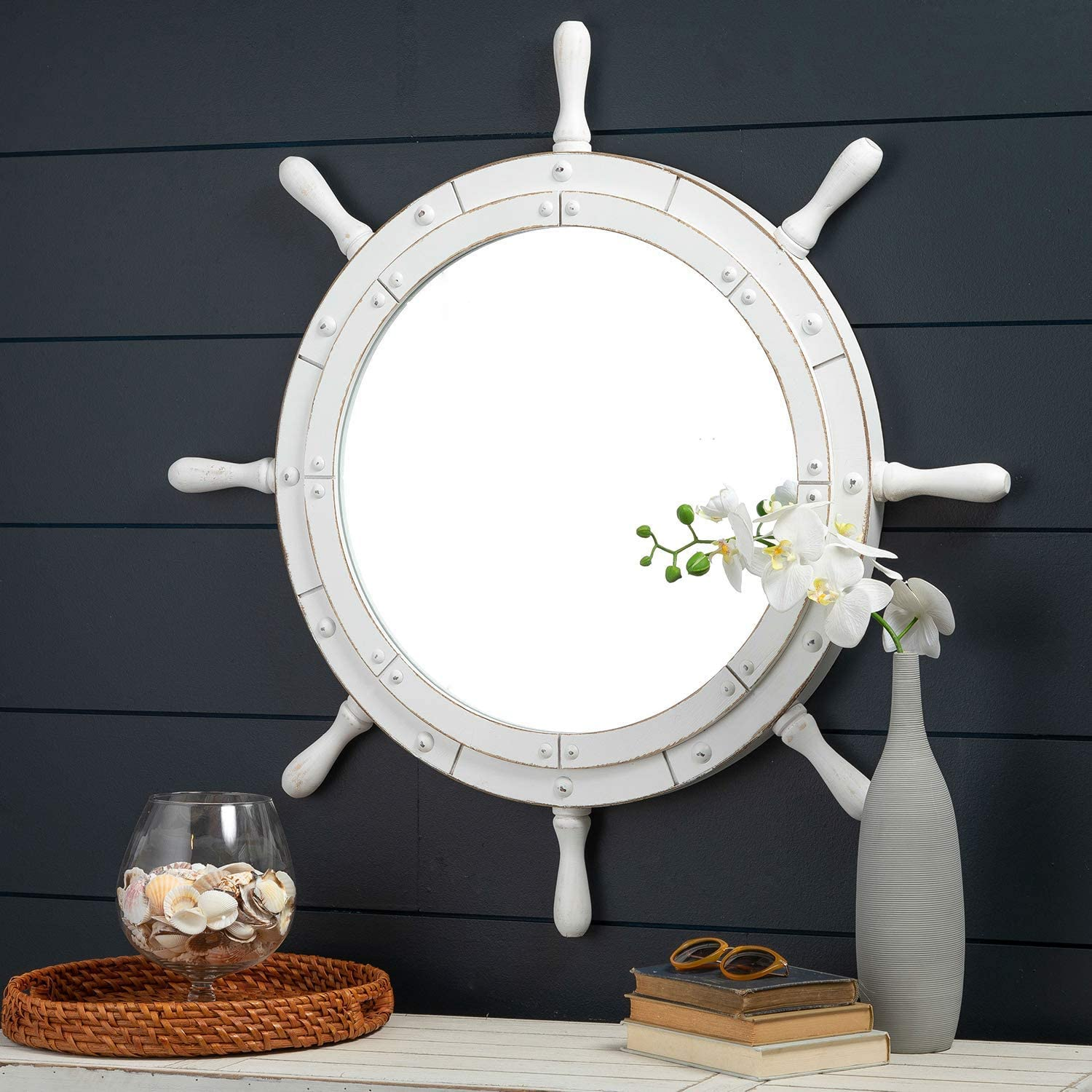 Nagina International Classic White Santorini Beautiful Nautical Sturdy Large Mirror Ship Wheel | Wall Mounted Mirrors (24 Inches)