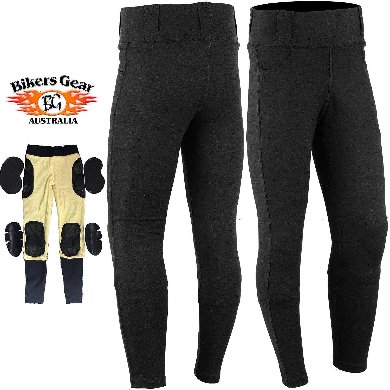 color negro Leggings protectores de motocicleta con forro de Kevlar con armadura CE extra/íble Bikers Gear Australia Limited talla 14
