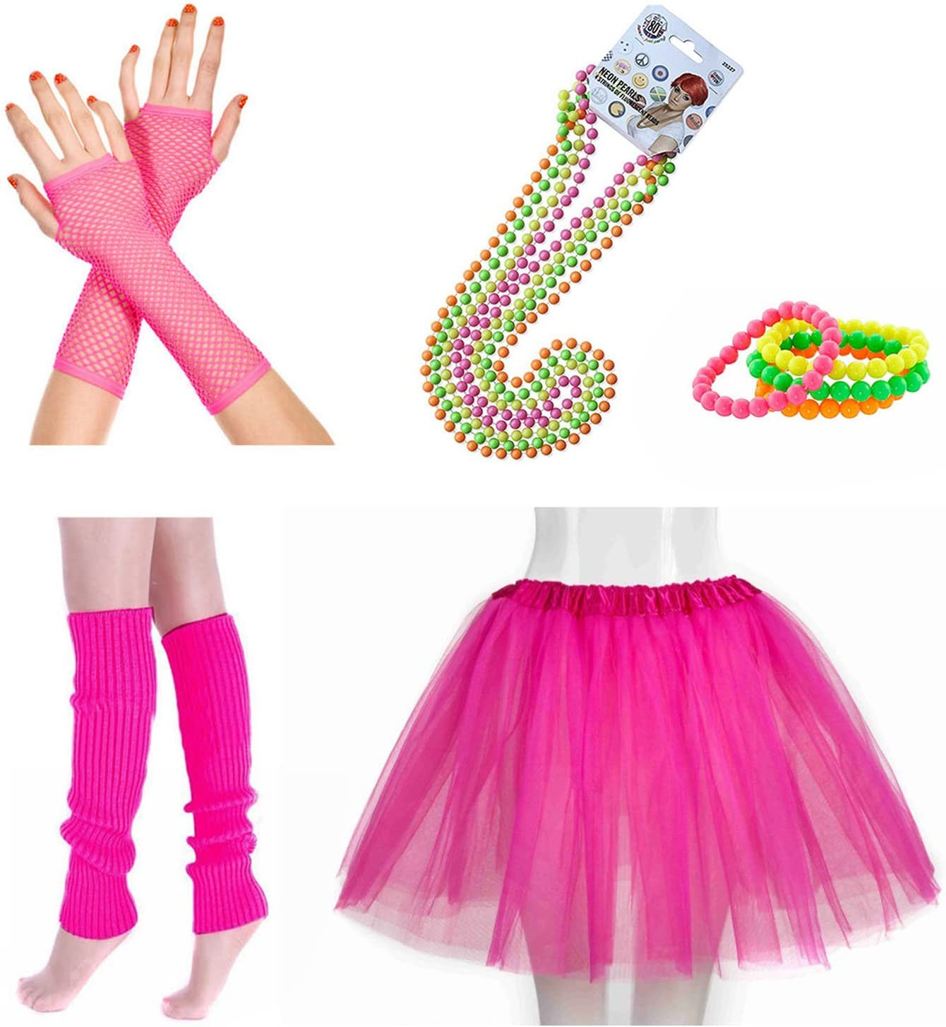 ADULT 80s FANCY DRESS HEN PARTY COSTUME SET TUTU SKIRT LEG WARMER FISHNET GLOVES