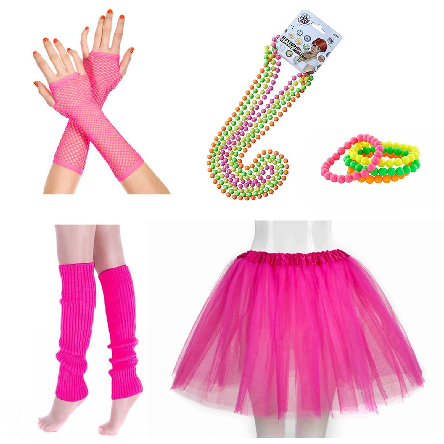 INNOBASE 80s Fancy Dress Neon Adult Tutu,Leg Warmers,Fishnet Pink Gloves,Fluorescent Bead Necklaces and Bracelets 1980s Party Costume Accessories Set for Girls Women Night Out Party (A1) LDCC-20170907-80sA1
