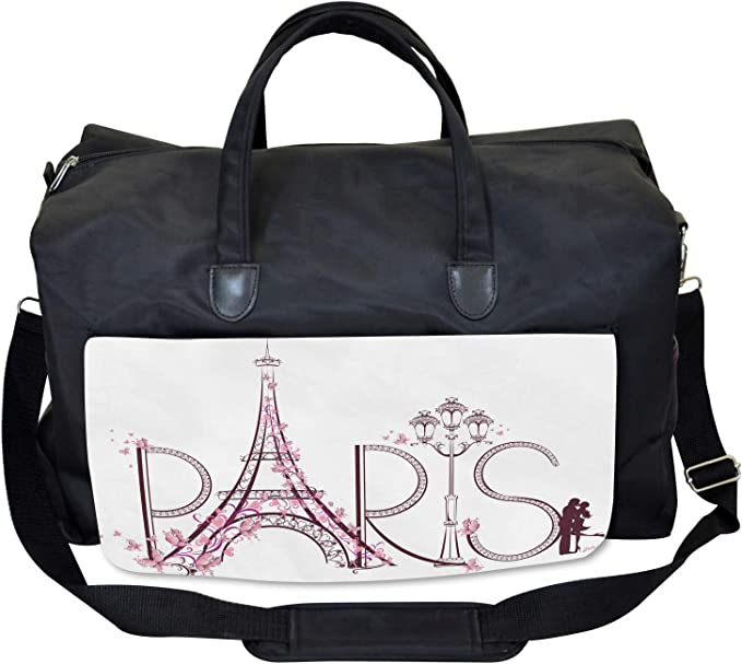 Ambesonne Romance Gym Bag Large Weekender Carry-on Old Flowers Butterfly