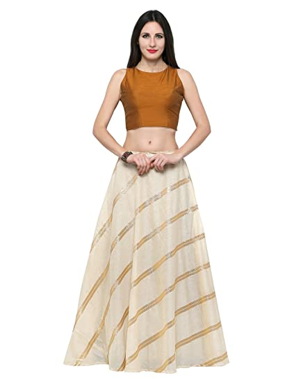 c8dce8cb06f Inddus Women s Cotton Mustard Banarasi Woven Semi Stitched Lehenga Choli  (IND-IFW-55