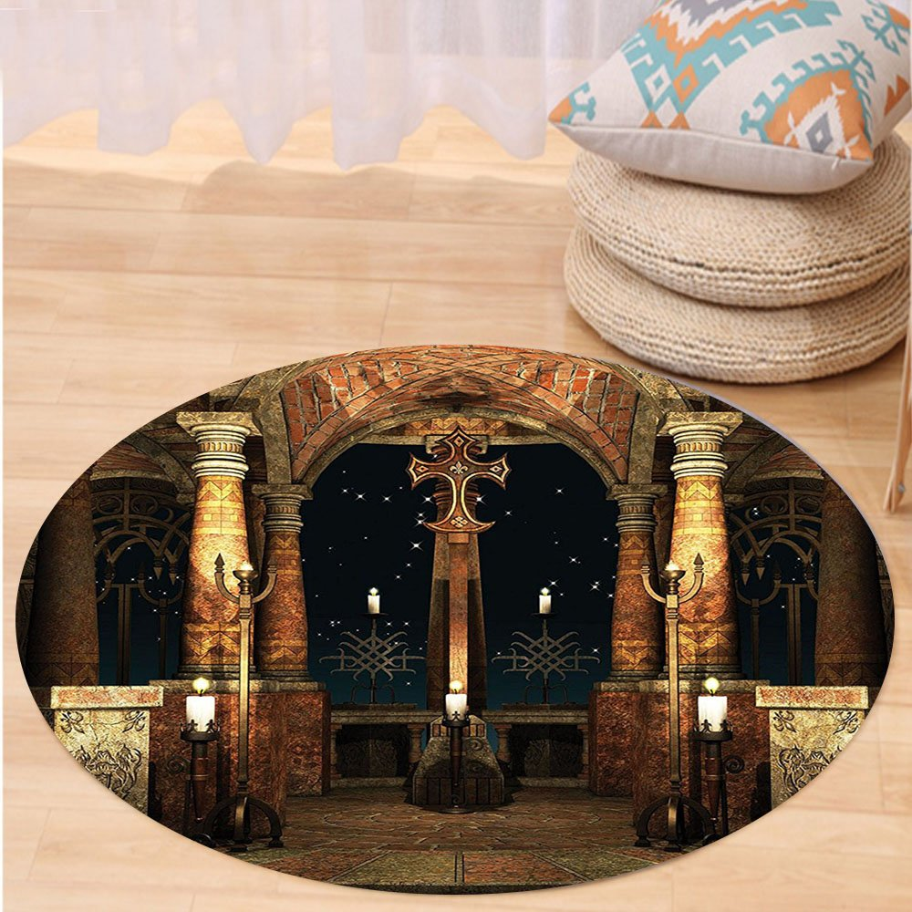 VROSELV Custom carpetGothic House Decor Dark Mystic Ancient Hall with Pillars and Christian Cross Dome Shrine Church for Bedroom Living Room Dorm Red Brown and Black Round 79 inches by VROSELV