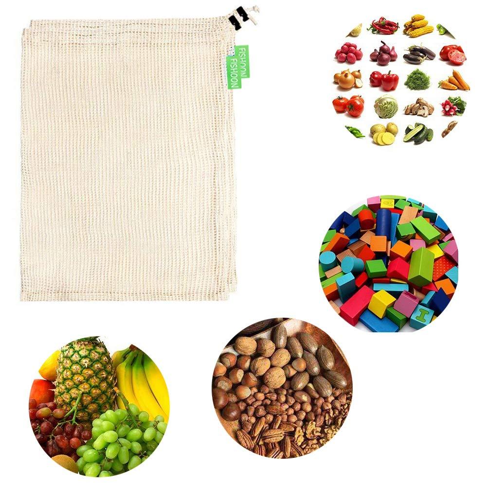 Bolsas para compras reutilizable, Ecológicas y Excelentes para Guardar Frutas/ Verduras, Juguetes, Manualidades, Cosméticos, Lavable y Libre de BPA, ...
