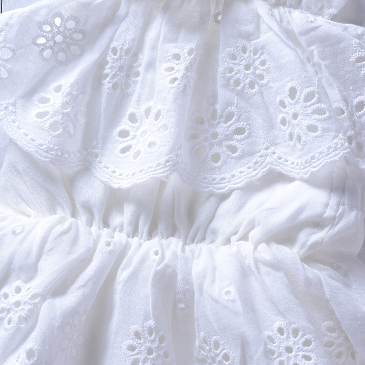 Camidy Infant Baby Girl White Ruffled Halter Lace Romper Sunsuit Bodysuit Jumpsuit