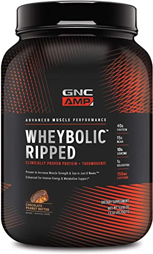 GNC AMP Wheybolic Ripped Whey Portein Powder – Chocolate Peanut Butter – 22 Servings, Contains 40g Protein and 15g BCAA Per Serving
