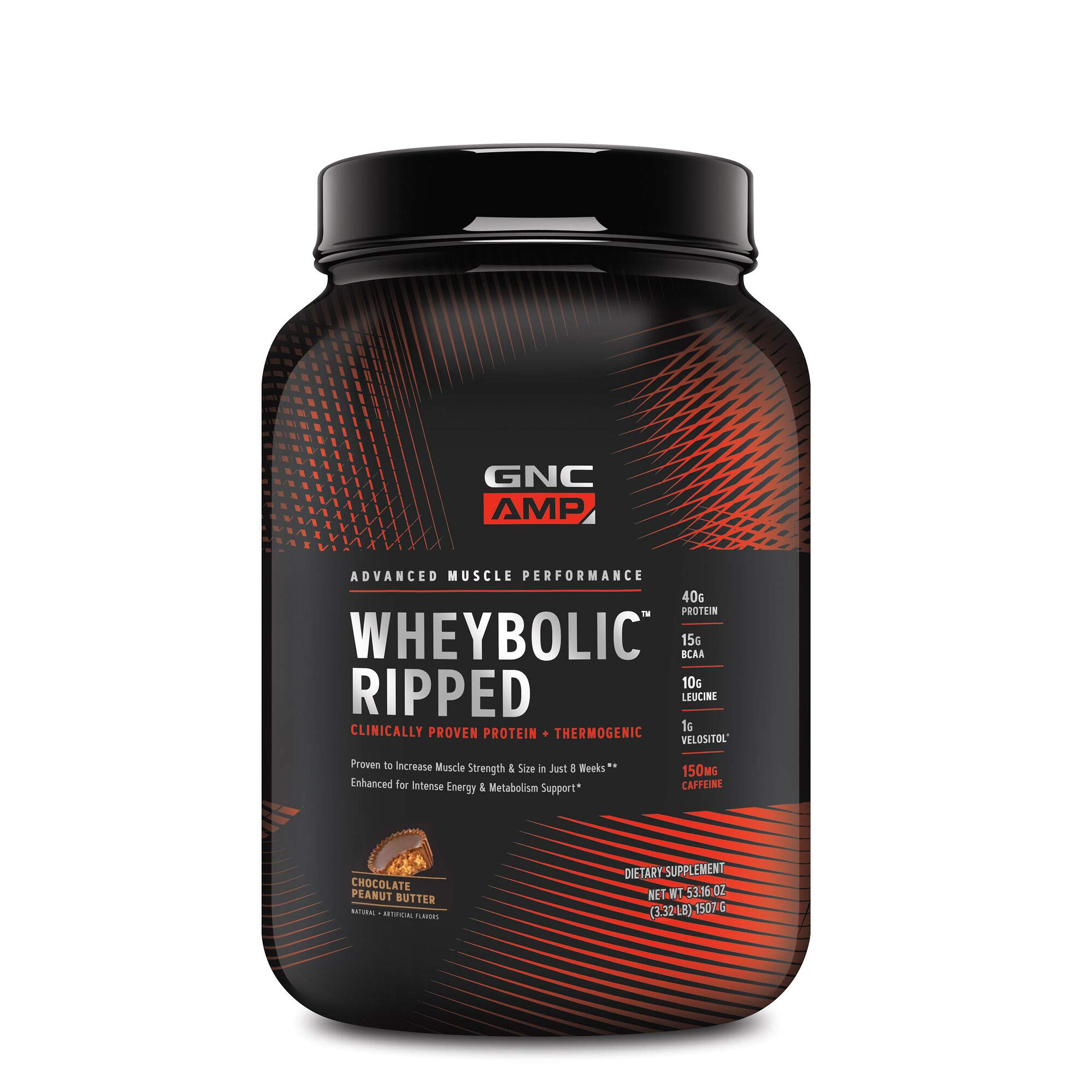 GNC AMP Wheybolic Ripped, Chocolate Peanut Butter, 22 Servings, Contains 40g Protein and 15g BCAA Per Serving by GNC