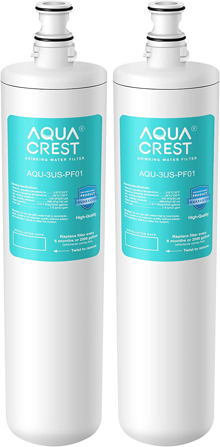 AQUA CREST 3US-PF01 Under Sink Water Filter, Compatible with Filtrete Advanced 3US-PF01, 3US-MAX-F01H, 3US-PF01H, Delta RP78702, Manitowoc K-00337, K-00338 Water Filter (Pack of 2): Home & Kitchen