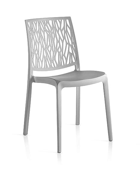 FLOW 4 sillas de Resina monobloque London Twist by Gris ...