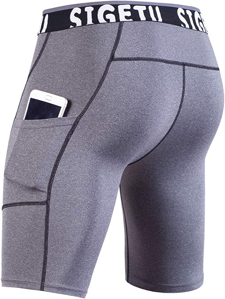 JJLIKER Mens Performance Compression Cool Dry Sports Tights Pants Shorts Baselayer Running Leggings with Pocket