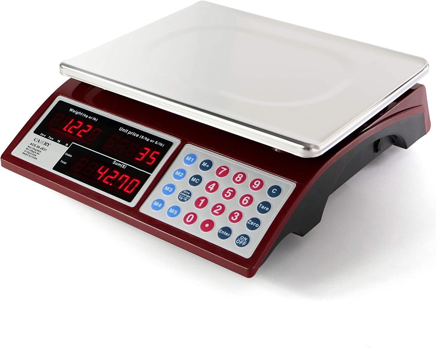 CAMRY Digital Commercial Price Scale 66lb / 30kg for Food Meat Fruit Produce with Dual Bright Red LED Display 15 Inches Platform Rechargeable Battery Included Not For Trade