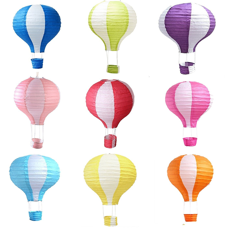 Matissa Pack de 9 globos de aire caliente papel linterna decoración del banquete de boda sombra de lámpara de arte (8 (20CM))