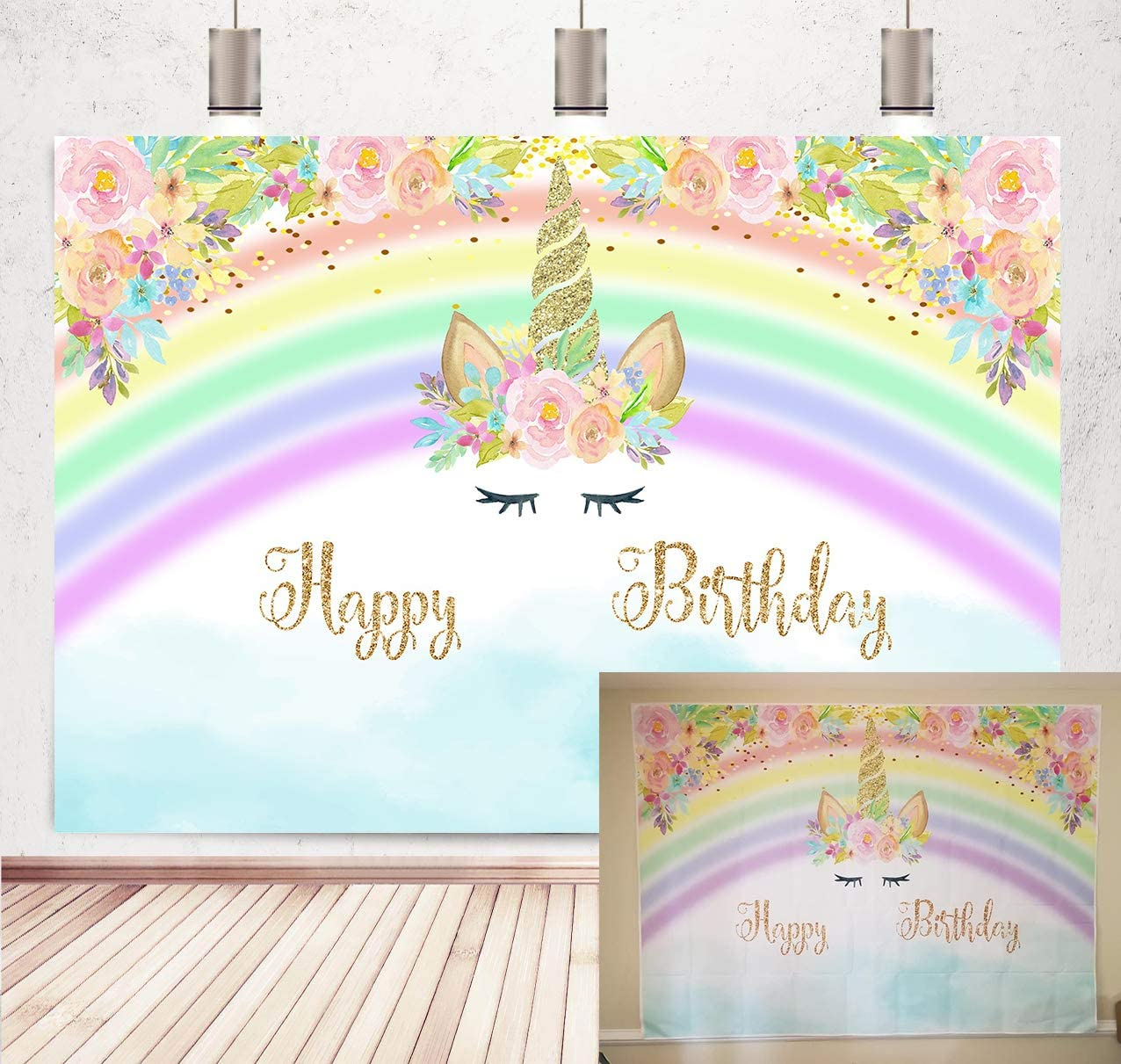 Botong 7x5ft Unicorn Rainbow Birthday Party Colorful Flower Backdrop Photography for Kids Birthday Baby Shower Unicorn Party Supplies Pictures Decorations Background Photo Studio Props Banner