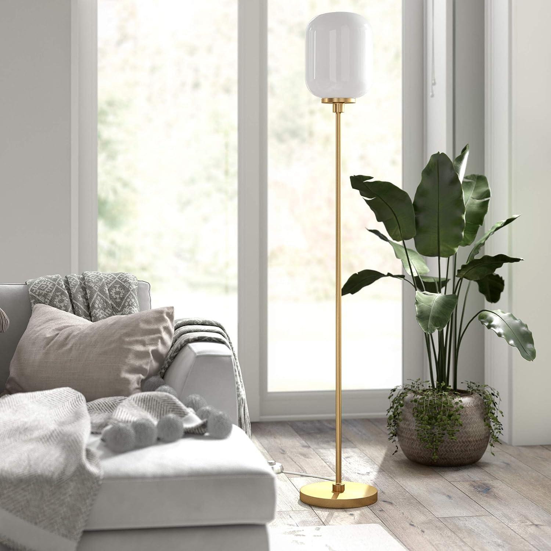 Henn&Hart FL0506 Industrial Modern Standing Floor Lamp for Living Room, Bedroom, Office, Gold/Milk Glass