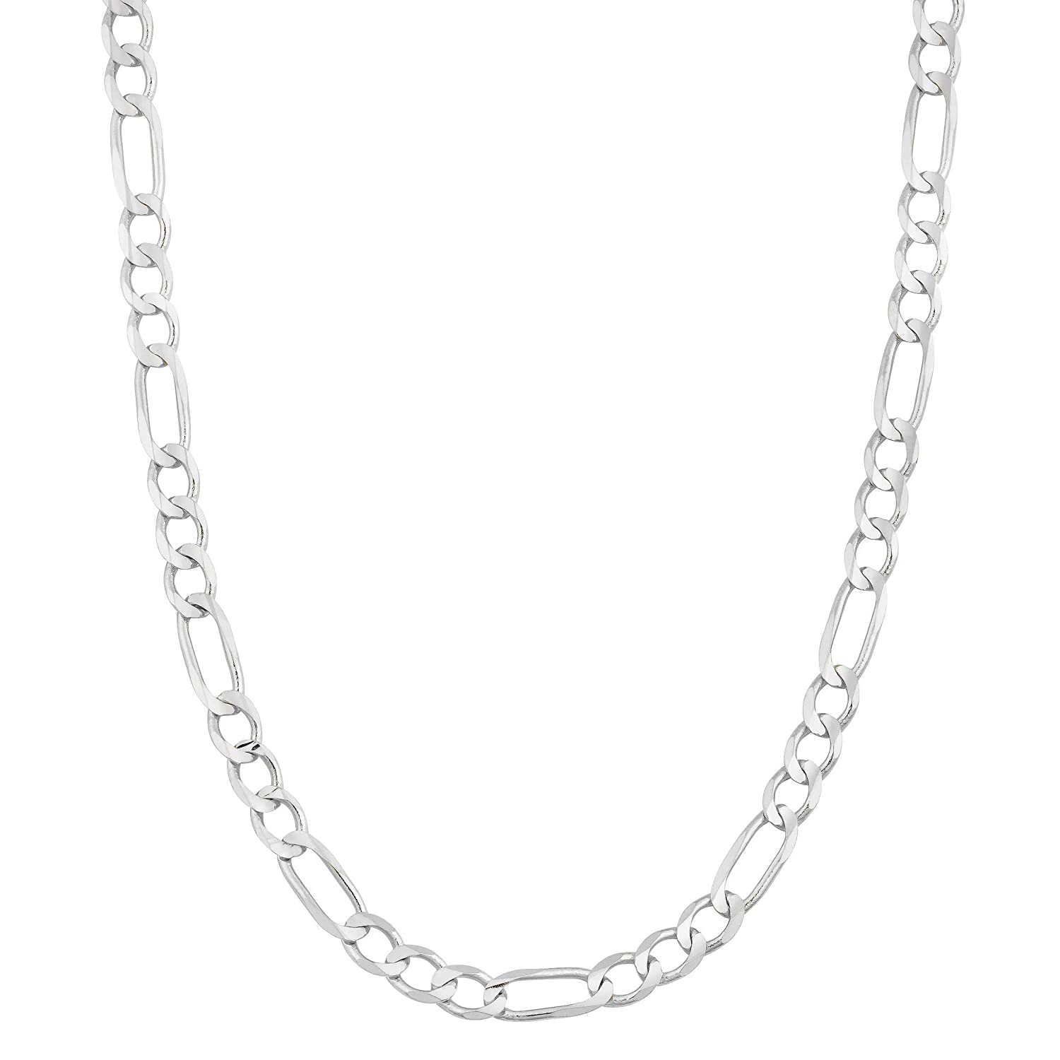 Silver Figaro Link Necklace for Men and Women18-30 4.5MM Figaro Link Chain Necklace 925 Sterling Silver 3MM 3.5MM 4MM