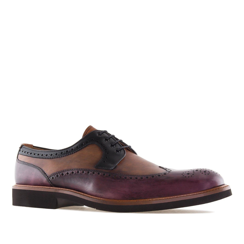 Andres Machado 6331.Zapato Estilo Oxford en Piel.Hombre.Tallas Grandes. 46/50. Made In Spain 48 EU|Burdeos