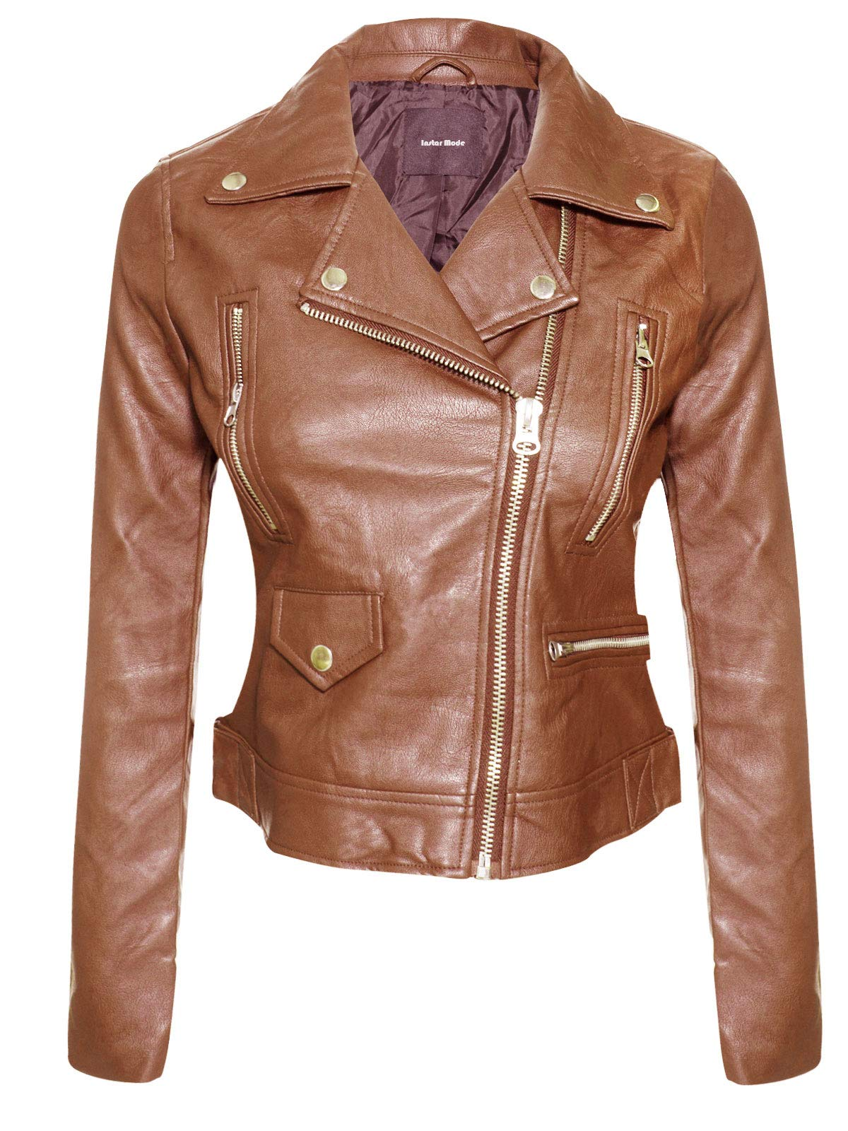 Instar Mode Women's Long Sleeve Zipper Closure Moto Biker Faux Leather Jacket Brown S