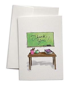 Teacher's Desk Thank You Cards - 24 Cards & Envelopes