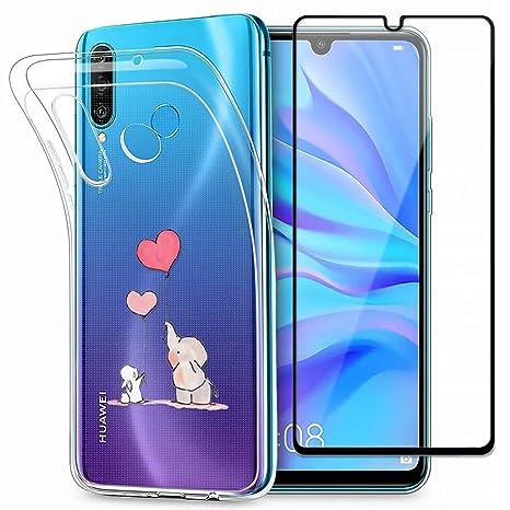 2 Packs Morbido Trasparente Silicone Disegno del Modello di Fiore Custodia Cover for Huawei P30 Lite Lifeacc Cover for Huawei P30 Lite Red Rose//Cherry Blossom