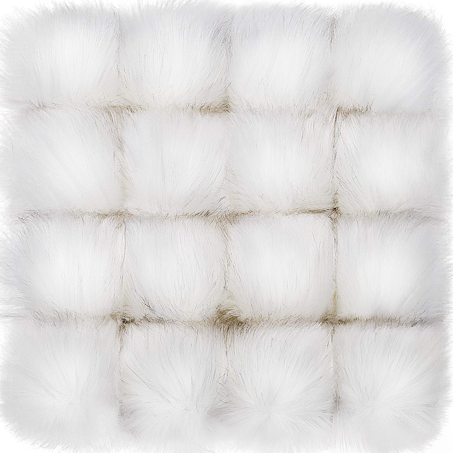 Tatuo Faux Fur Pom Pom Ball DIY Fur Pom Poms for Hats Shoes Scarves Bag Pompoms Keychain Charms Knitting Hat Accessories (White, 16) by Tatuo