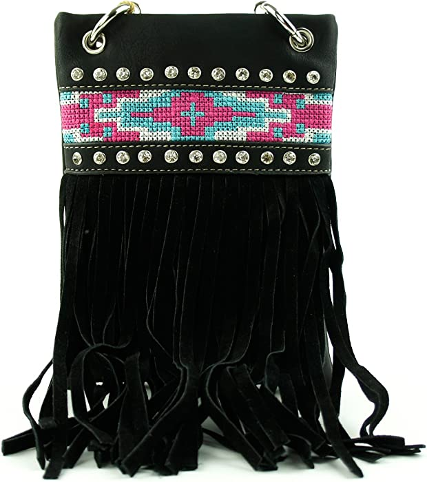 51f6d1f477 Fringe Tassel Aztec Tribal Pattern Crossbody Mini Messenger Bag Shoulder  Purse Western Handbag (Black)