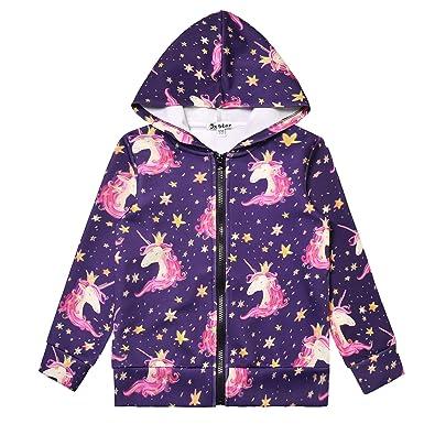f5f6bd607 Amazon.com: Girls Zip Up Hoodie Jacket Unicorn Sweatshirt with ...