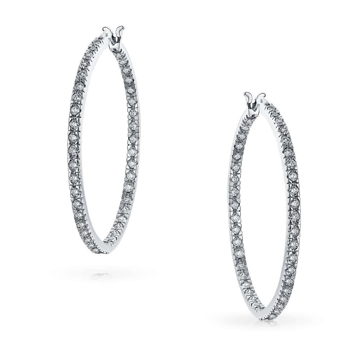96783f4a66cf04 Amazon.com: White Cubic Zirconia Pave Thin Inside Out Big Hoop Earrings For  Women For Prom Silver Plated Brass 1.75 Inch: Jewelry