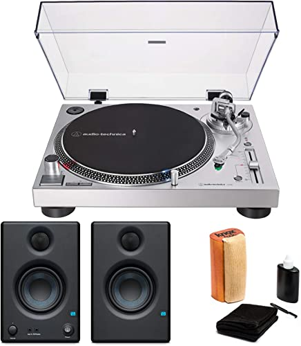 Audio-Technica AT-LP120XUSB USB Turntable Bundle with Eris 3.5 Monitors Pair and Knox Cleaning Kit 3 Items