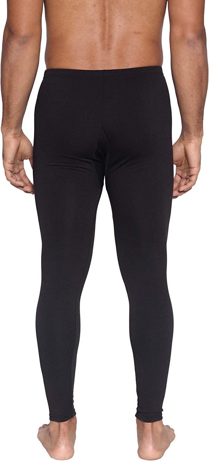 Real Essentials 3 Pack Mens Thermal Underwear Base Layer Fleece Lined Compression Pants with Functional Fly