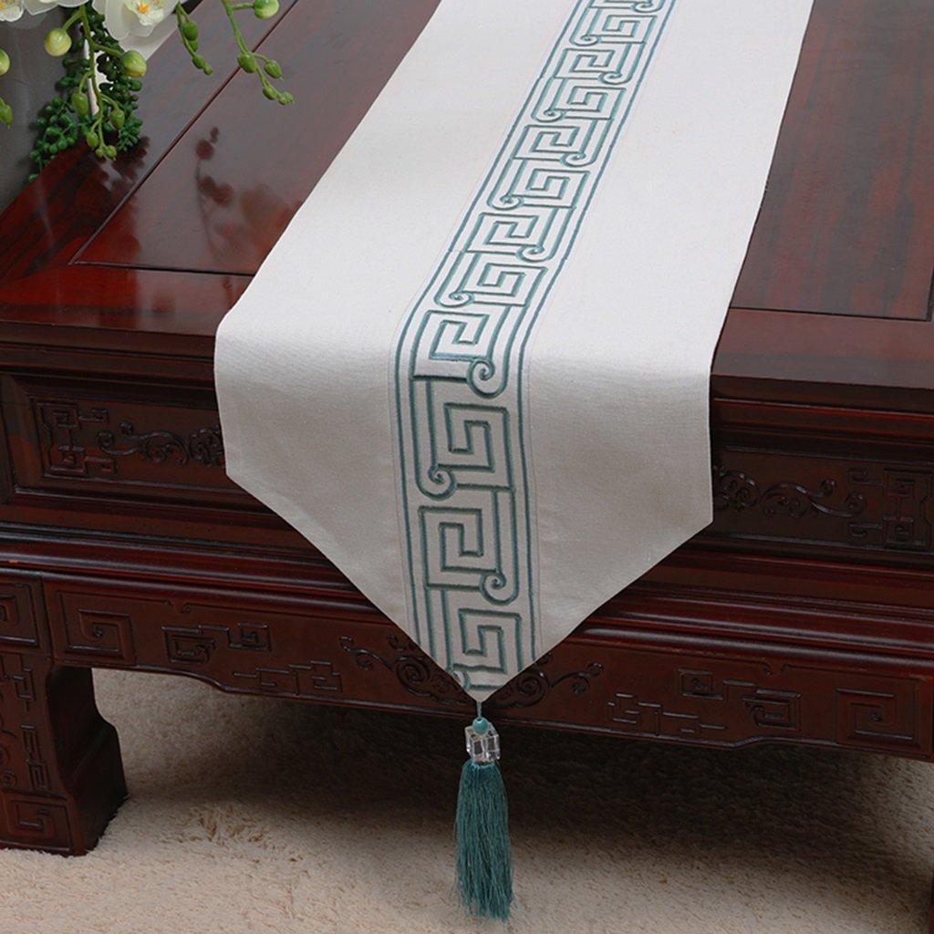 YXX- American Style Cotton White Blue Tablecloth Mesa de Comedor Coffee Desk Shoebox TV Gabinete Lavadora Piano Table Runner Cover Towel Bed Flag (Color : Style-2, Tamaño : 33180cm)