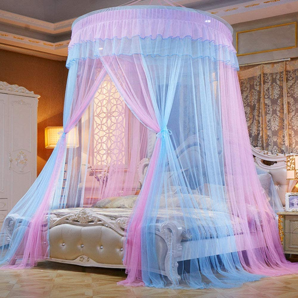 LJQLXJ Mosquitera Mosquito Net For Double Bed Mosquito Repellent Tent Insect Reject Canopy Bed Curtain Queen/Princess Bed Tent,pink and blue,Average Size