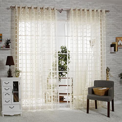R.LANG Solid Grommet Top Square Lattice Living Room Sheer Curtain 1 Pair Beige 66 W X 90 L