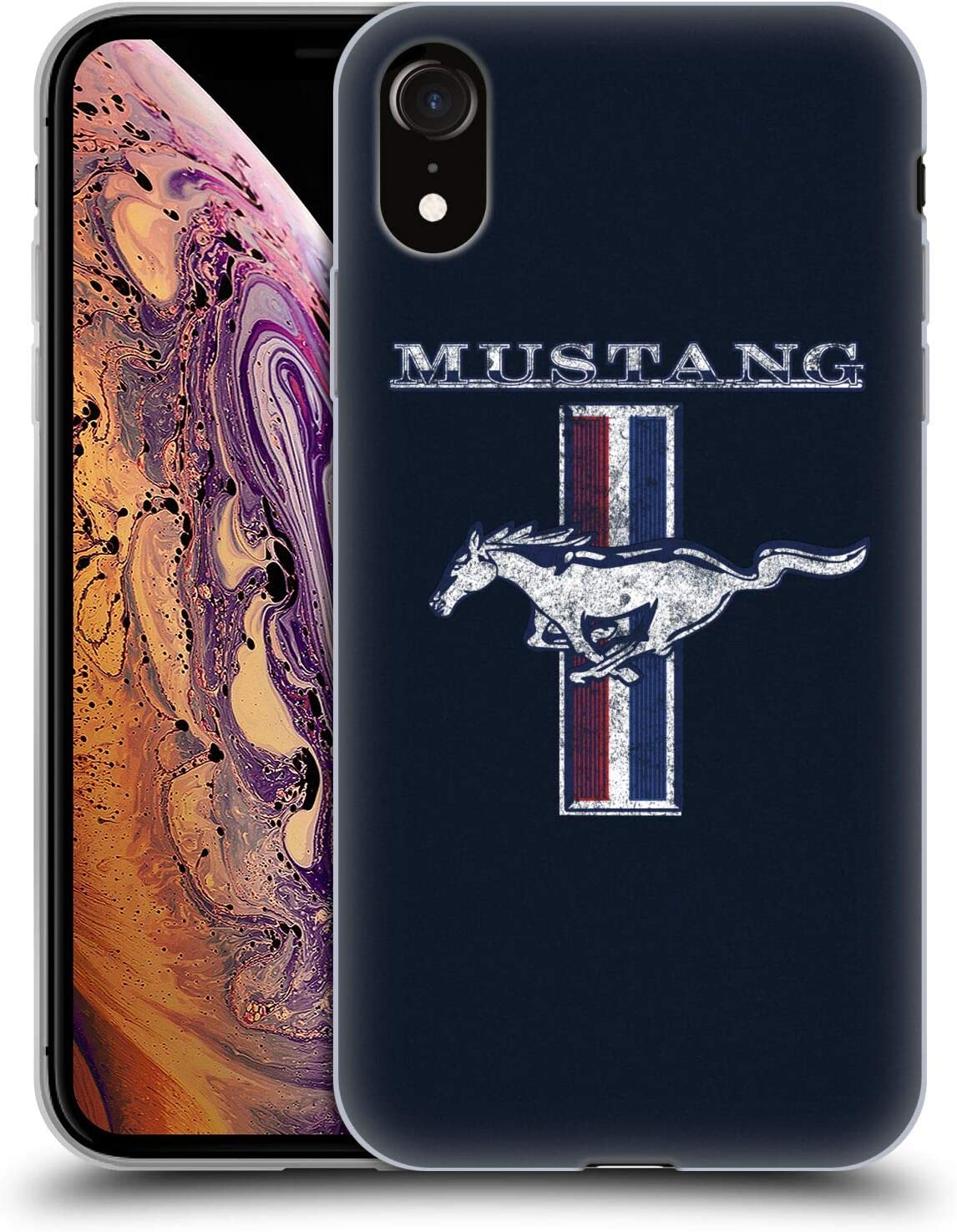 Head Case Designs Officially Licensed Ford Motor Company Classic Distressed Look Mustang Logos Soft Gel Case Compatible with Apple iPhone XR