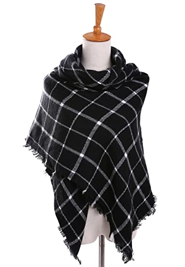 Bess Bridal Women's Plaid Blanket Winter Scarf Warm Cozy Tartan Wrap Oversized Shawl Cape (One Size, Black)