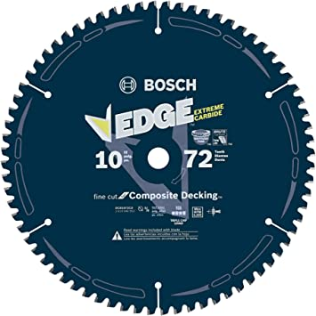 Bosch Dcb1072cd 10 In 72 Tooth Edge Circular Saw Blade For Composite Decking Amazon Com